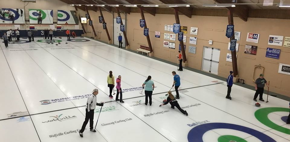 People curling on the ice