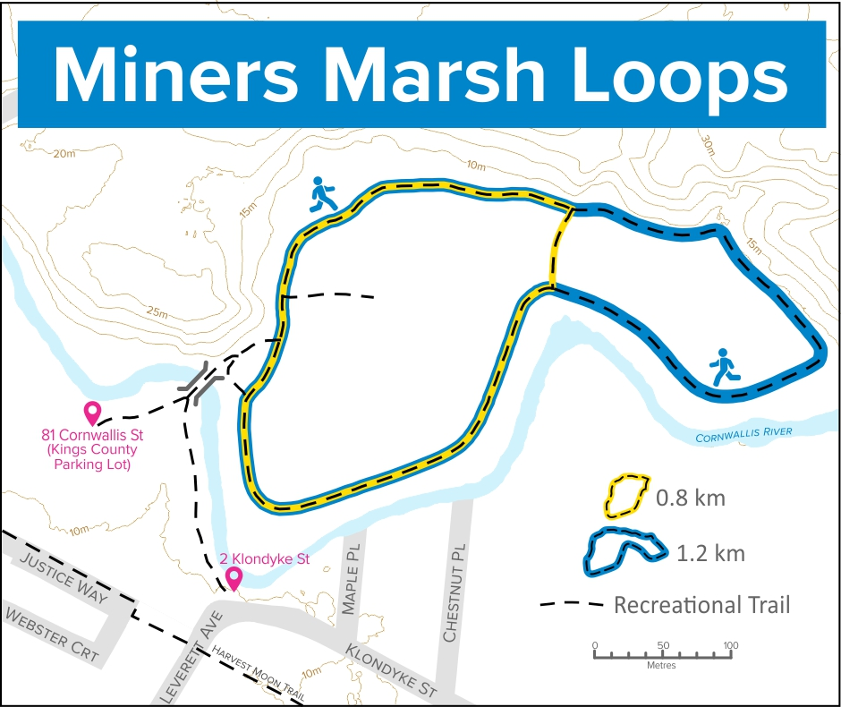 A trail map of Miner's Marsh