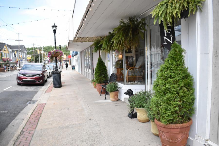 Green shrubs are planted in terracotta pots outside a stylish shop located downtown