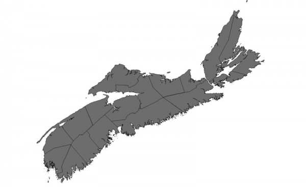 A map of Nova Scotia is coloured grey indicating current burn restrictions by county
