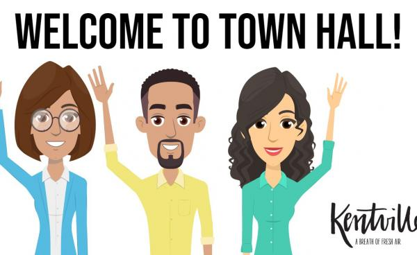 Happy cartoons waving, welcome to town hall